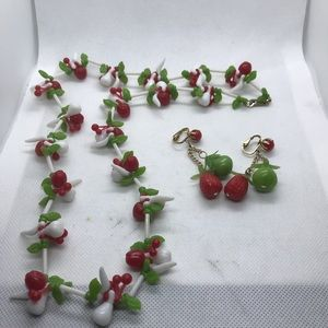 Jewelry - Vintage fruit necklace and earrings